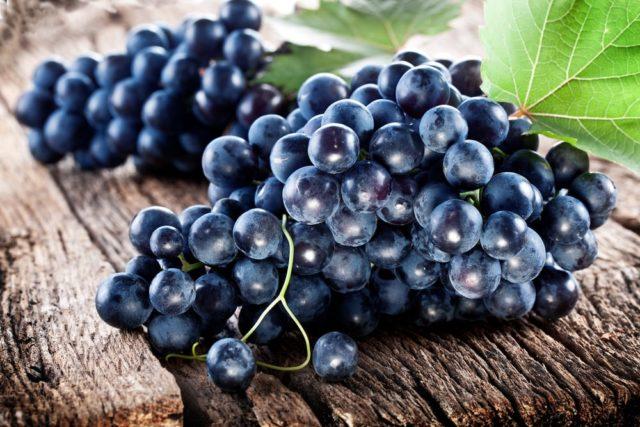 грозди черного винограда