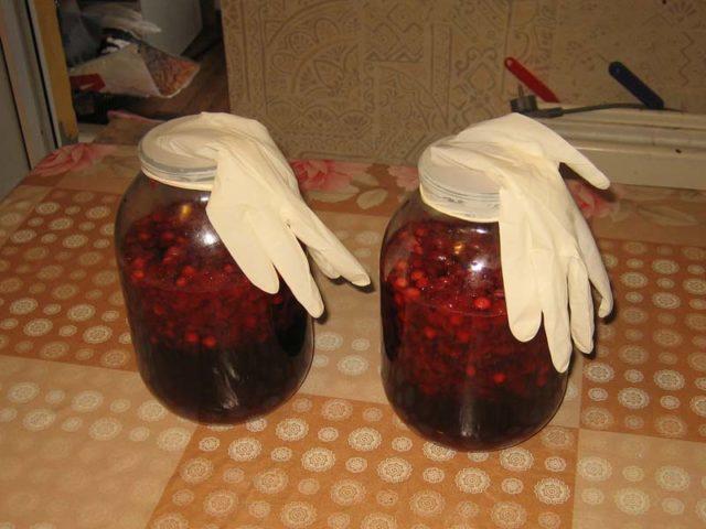 банки с вином; перчатки упали